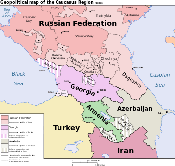 Political map of Turkey, South Caucasus, Iran