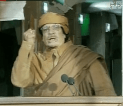 Gaddafi during his 22 February 2011 television address