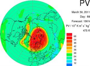 Europe ozone forecast for March 30. Source: European Centre for Medium-Range Weather Forecasts