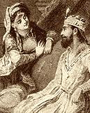 Queen Scheherazade tells her stories to King Shahryar