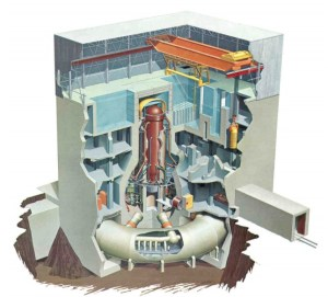 This cutaway diagram shows the central reactor vessel, thick concrete containment and lower torus structure in a typical boiling water reactor of the same era as Fukushima Daiichi 2