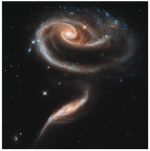 This image of a pair of interacting galaxies called Arp 273 was released to celebrate the 21st anniversary of the launch of the NASA/ESA Hubble Space Telescope. The distorted shape of the larger of the two galaxies shows signs of tidal interactions with the smaller of the two. It is thought that the smaller galaxy has actually passed through the larger one. Credit: NASA, ESA and the Hubble Heritage Team (STScI/AURA)