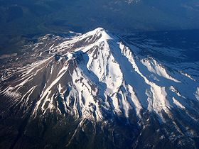 Aerial view of Mount Shasta from the west