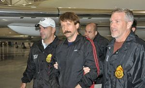Viktor Bout in the custody of DEA agents on November 16, 2010 after being extradited to the United States