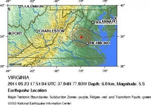 Location of Virginia earthquake