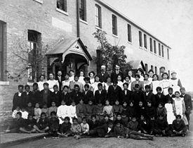 Residential school group photograph, Regina, Saskatchewan circa 1921