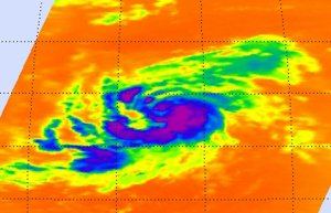 This infrared image of Tropical Storm Katia's cold clouds shows banding of thunderstorms around her center. It was taken by the AIRS instrument on NASA's Aqua satellite on August 31st at 1:05 a.m. EDT. Credit: NASA/JPL, Ed Olsen