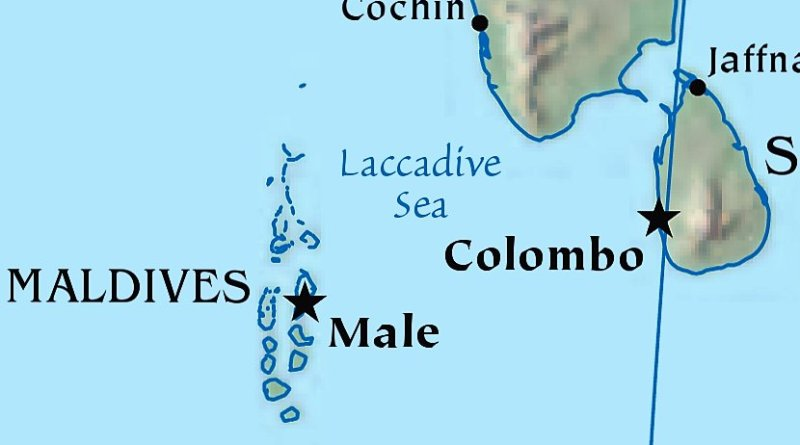 Location of the Maldives. Source: CIA World Factbook.