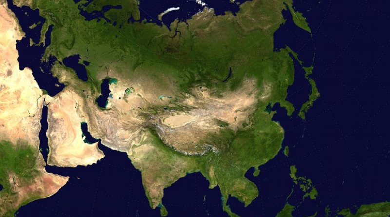 Eurasia with surrounding areas of Africa and Australasia visible. Source: Wikipedia Commons.