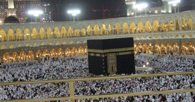 The Masjid al-Haram and Kaaba, Mecca, Saudi Arabia. Photo by Ariandra 03, Wikipedia Commons.