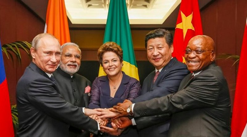 The BRICS leaders in 2014. Left to right: Putin, Modi, Rousseff, Xi and Zuma. Photo by Roberto Stuckert Filho, Agência Brasil, Wikipedia Commons.