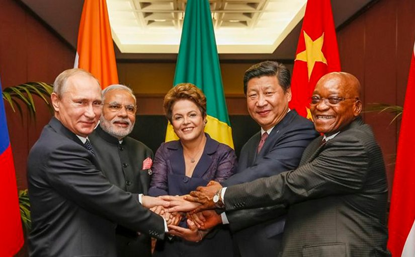 The BRICS leaders in 2014. Left to right: Putin, Modi, Rousseff, Xi and Zuma. Photo by Roberto Stuckert Filho, Agência Brasil, Wikipedia Commons.