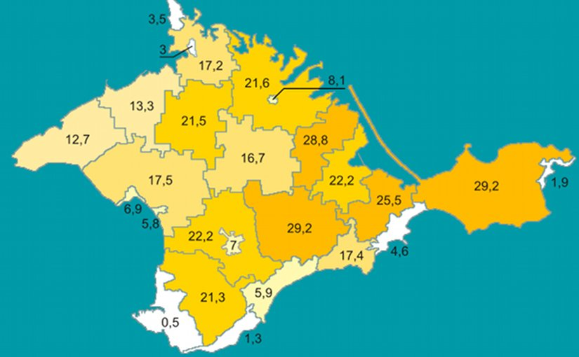 Percentage of Crimean Tatars by region in Crimea according to 2001 Ukrainian census. Graphic by Riwnodennyk, Wikipedia Commons.
