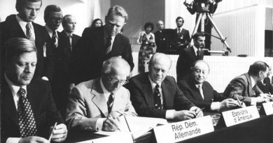 Chancellor of Federal Republic of Germany (West Germany) Helmut Schmidt, Chairman of the State Council of the German Democratic Republic (East Germany) Erich Honecker, U.S. president Gerald Ford and Austrian chancellor Bruno Kreisky. Photo by Sturm, Horst, German Federal Archives, Wikipedia Commons.