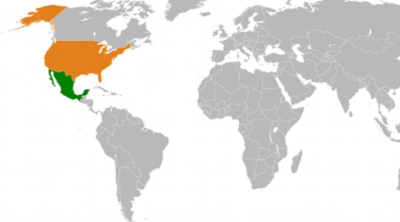 Location of Mexico and United States. Source: Wikipedia Commons.
