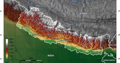 Topographic map of Nepal. Source: Wikipedia Commons.