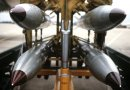 Nuclear B61s on a bomb rack. Photo United States Department of Defense (SSGT Phil Schmitten), Wikipedia Commons.