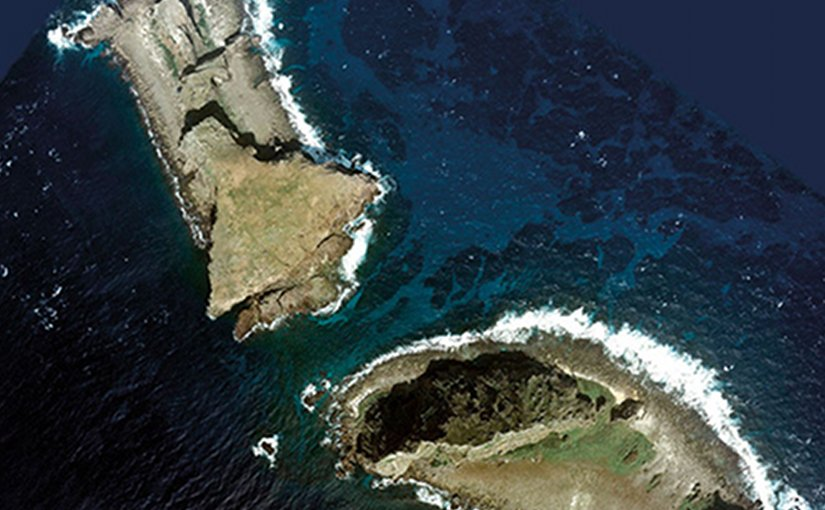 Aerial Photo of Kita-Kojima (left) and Minami-Kojima of Senkaku Islands, Ishigaki City, Okinawa, Japan (Courtesy National Land Image Information)