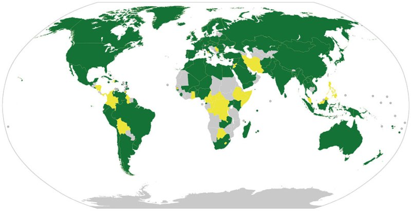 Countries that signed and ratified Outer Space Treaty as of January 1, 2013, are indicated in green, countries that only signed in yellow, and those that did not sign in grey