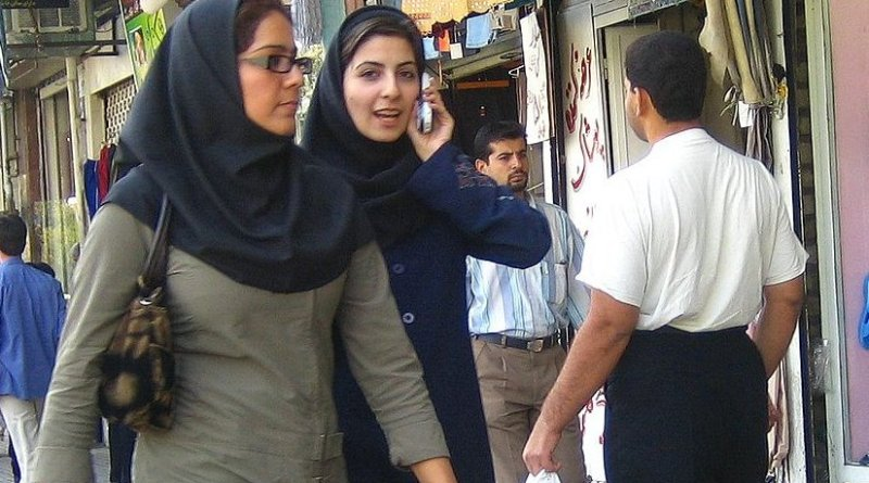 Two Iranian women wearing hijab. Photo by Zoom Zoom, Wikipedia Commons.