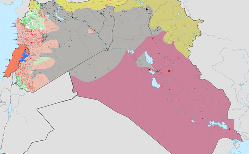 Areas controlled by Islamic State (grey) in Middle East as of July 26, 2015. Source: Wikipedia Commons.