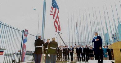 US Secretary of State John Kerry at raising of US flag at US Embassy in Havana, Cuba. Photo: US State Department.