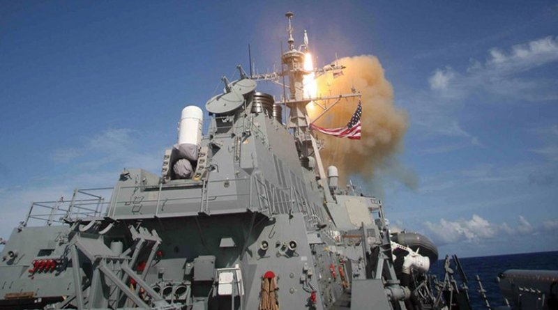 Standard Missile 3 launched from Aegis combat system–equipped USS Decatur during Missile Defense Agency ballistic missile flight test intercepting separated ballistic missile threat target (U.S. Navy)