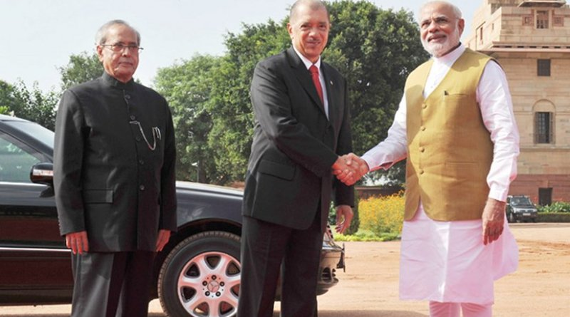 The President of the Republic of Seychelles, Mr. James Alix Michel being welcomed by the President, Shri Pranab Mukherjee and the Prime Minister, Shri Narendra Modi, at the Ceremonial Reception, at Rashtrapati Bhavan, in New Delhi on August 26, 2015. Photo Credit: India Government