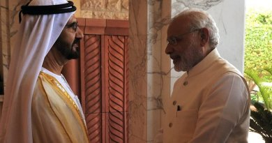 His Highness Sheikh Mohammed bin Rashid Al Maktoum with India's PM Narendra Modi in Dubai. Photo Credit: India Government, PM Office.