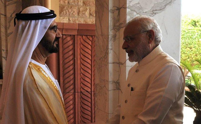 His Highness Sheikh Mohammed bin Rashid Al Maktoum with India's PM Narendra Modi in Dubai. Photo Credit: India Government, PM Office.