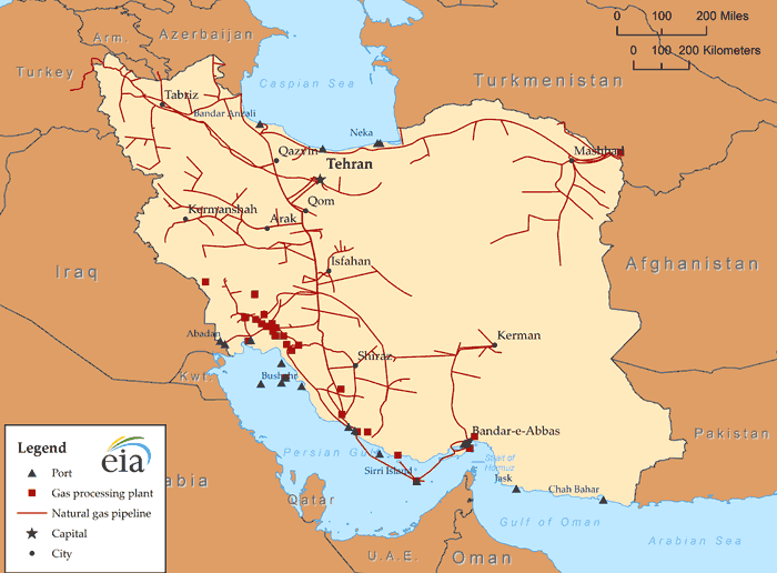 Iran's natural gas infrastructure  Source: U.S. Energy Information Administration, IHS EDIN