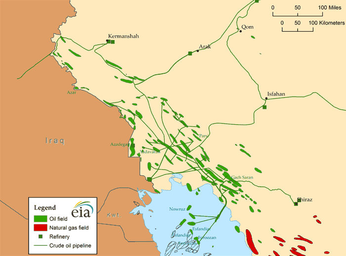 Iran's largest oil fields  Source: U.S. Energy Information Administration, IHS EDIN