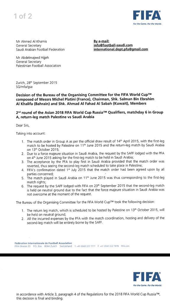 FIFA letter regarding Saudi Arabia - Palestine match.