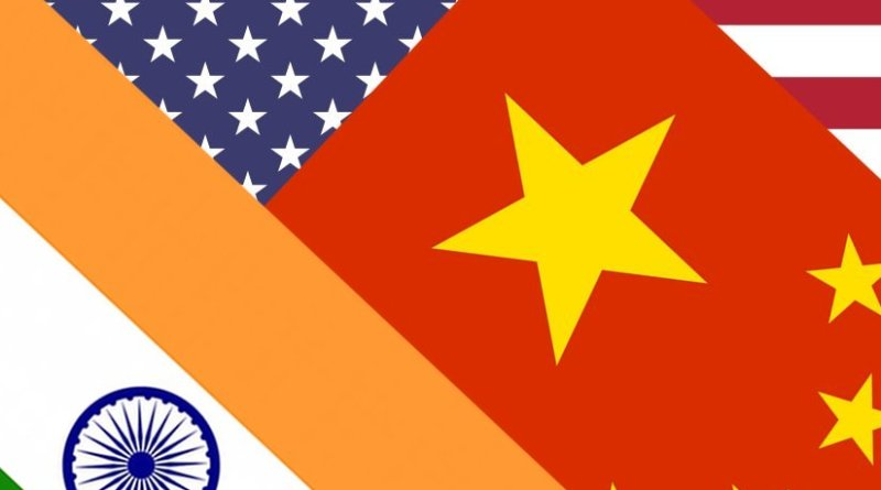 Flags of China, India and United States