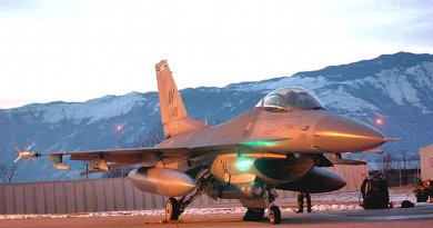 A 31st Fighter Wing F-16 Fighting Falcon at Aviano Air Base, Italy. Photo by United States Air Force, Wikipedia Commons.