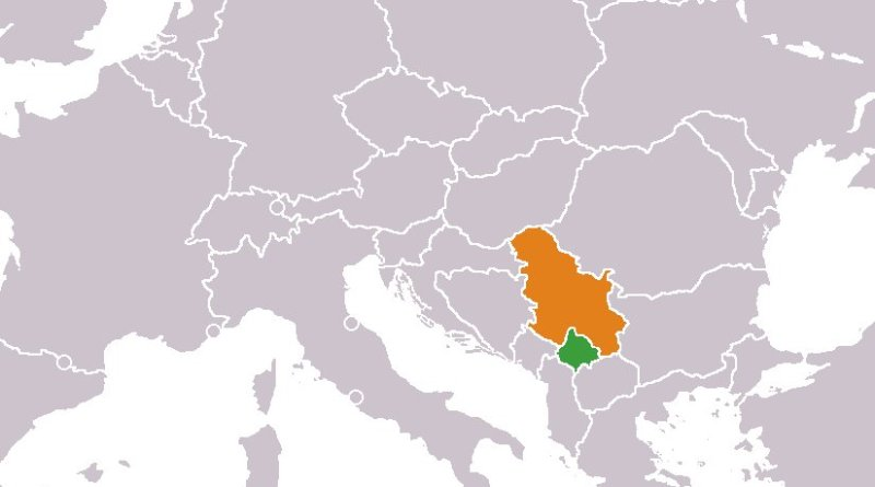 Location of Kosovo (Green) and Serbia (Orange). Source: Wikipedia Commons.