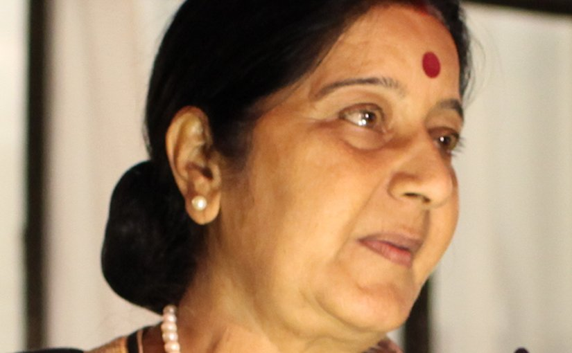 India's Sushma Swaraj. Photo UK's Foreign and Commonwealth Office, Wikipedia Commons.