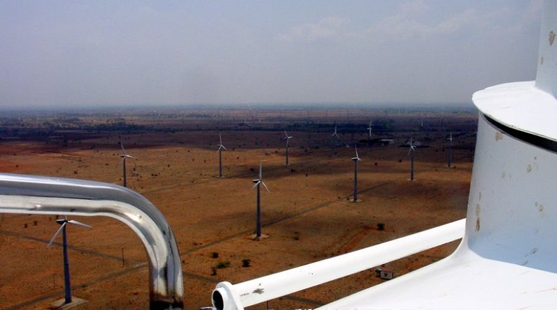 A wind farm in Kayathar, Tamil Nadu, India. Source: Wikipedia Commons.