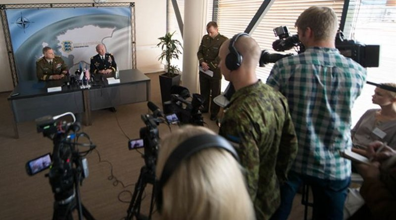 U.S. Army Gen. Martin E. Dempsey, chairman of the Joint Chiefs of Staff, second from left, and Estonian Lt. Gen. Riho Terras, commander of the Estonian Defense Forces, hold a news conference in Tallinn, Estonia, Sept. 14, 2015. DoD photo by D. Myles Cullen