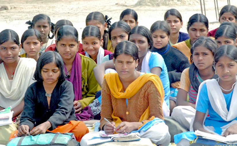 Girls studying in India.