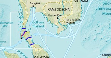Map of possible plans for the Thai (Kra) Canal. Author: Maximilian Dörrbecker (Chumwa), CIA World Factbook, Wikipedia Commons.