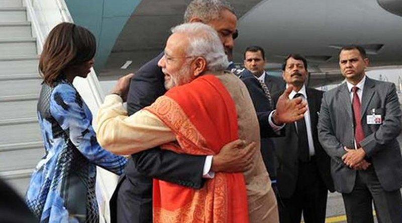 Narendra Modi greets US President Barack Obama on arrival to India. Photo Credit: India PM Office.