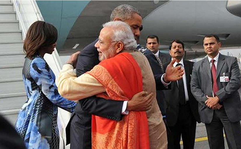 Narendra Modi greets US President Barack Obama on arrival to India. Photo Credit: India PM Office.