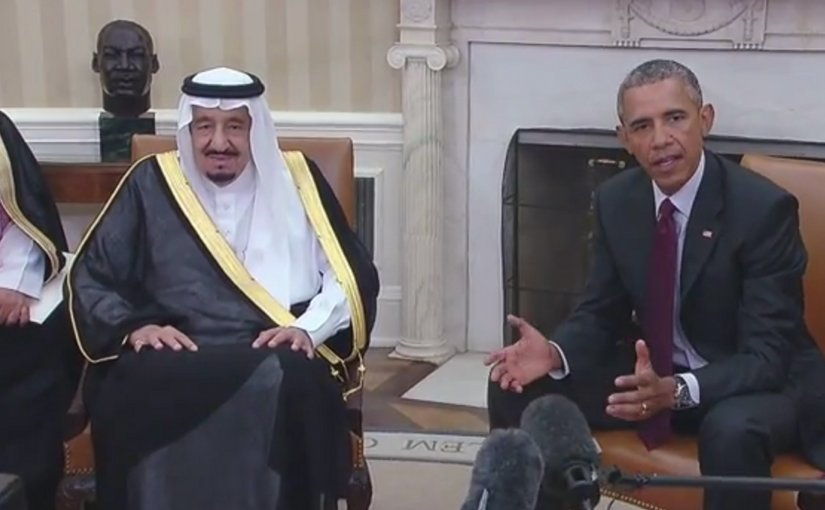 King Salman bin Abd alAziz of Saudi Arabia meets with US President Barack Obama at White House September 4, 2015. Photo Credit: Screenshot from White House video.