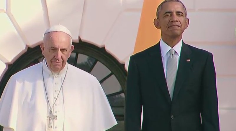 US President Barack Obama welcomes Pope Francis to White House. Photo Credit: Screenshot from White House video.