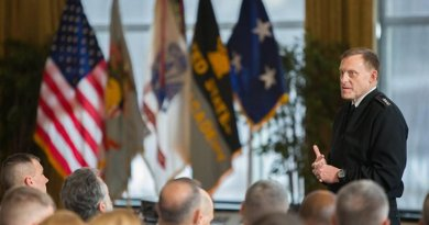 Navy Adm. Michael S. Rogers speaks to cadets and faculty at the U.S. Military Academy at West Point, N.Y., Jan. 9, 2015. He is the commander of the U.S. Cyber Command and director of the National Security Agency. Photo by Army Sgt. 1st Class Jeremy Bunkley