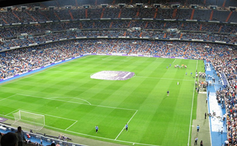 Real Madrid's Santiago Bernabéu Stadium in Madrid, Spain. Photo by Chris Brown, Wikipedia Commons.