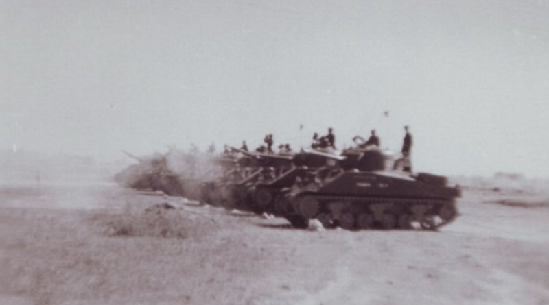Tanks of 18th Cavalry (Indian Army) on the move during the 1965 Indo-Pak War. Photo by Brig. Hari Singh Deora A.V.S.M (Ati Vishisht Sewa Medal), Wikipedia Commons.