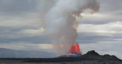Plumes of smoke and flames rise from an eruption at Bárðarbunga volcano, Iceland, in 2014. The amount of sulphur dioxide emitted in the six-month eruption was treble that given off by all of Europe's industry. Credit Dr. John Stevenson