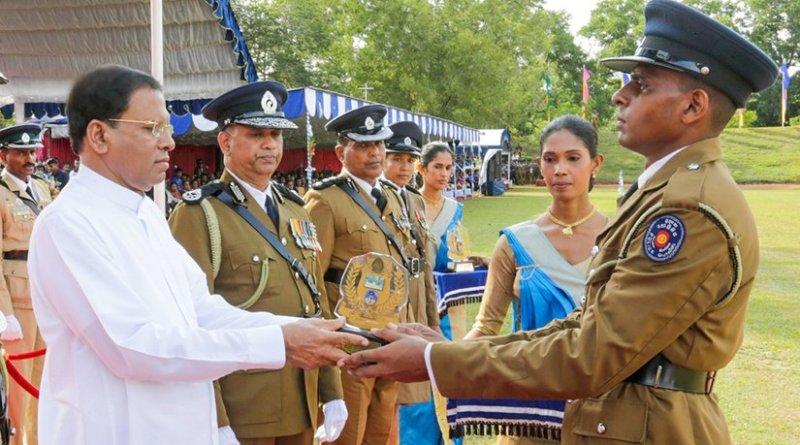 Sri Lanka President Maithripala Sirisena at Police College in Kalutara. Source: Sri Lanka Government.